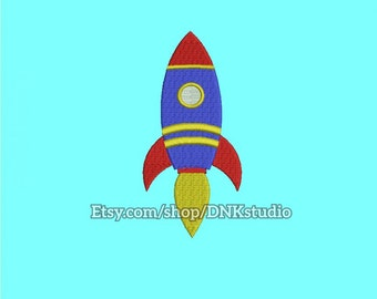 Cute Rocket Ship Embroidery Design - 6 Sizes - INSTANT DOWNLOAD