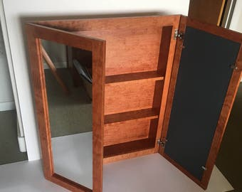 Cherry medicine cabinet with gunstock stain in XL size.