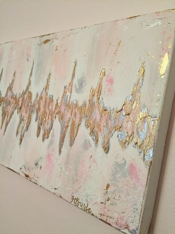 Custom Sonogram Heartbeat Painting Baby Heartbeat Art