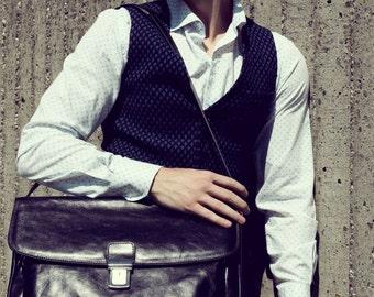 Men's slim vest waistcoat in dark blue wool blend
