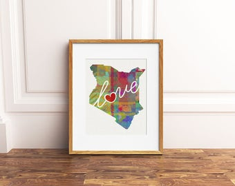 Kenya (Africa) Love - Colorful Watercolor Style Wall Art Print & Country Map Artwork - Adoption, Moving, Engagement, Wedding Gift and More