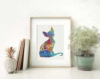 Sphynx Cat Love - Canvas Paper Print: A Colorful Watercolor Style Original Cat Breed Wall Hanging / Can Be Personalized