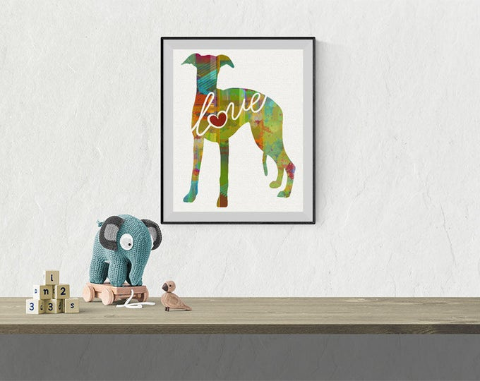 Featured listing image: Whippet Love - A Colorful Watercolor Print - Gift for Dog Lovers - Pet Artwork - Pet Loss Gift - Dog Memorial - That Can be Personalized