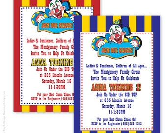 Circus Clown is coming to town!  Birthday Party Invitations. Personalized and Printable