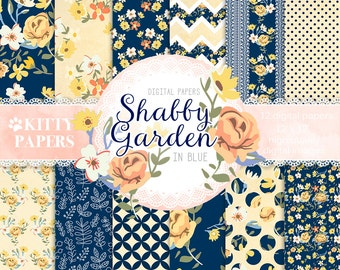 """Shabby digital paper : """"Shabby Garden in Blue """" blue and yellow digital paper, floral background, flower digital paper, shabby chic papers"""