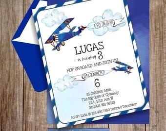 Vintage Airplane Invitation, Blue Airplane Invitation, Boy Birthday Invitation, EDITABLE digital Invitation