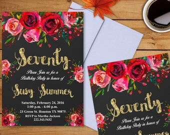 70th Birthday Invitation - Watercolor Flowers Invitation - Floral Invitation - Women Invitation Digital File