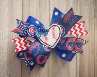 Chicago Cubs Hair Bow or Bow & Headband Set with Baseball Heart Feltie Center