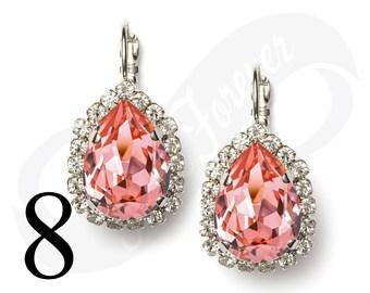 Set of 8 Earrings Peach Rose Earrings Peach Earrings Leverback Rhinestone Earrings Bridal Jewelry Wedding Earrings Bridesmaid Gift