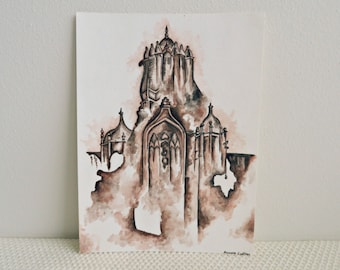 Fading Castle Watercolor Painting