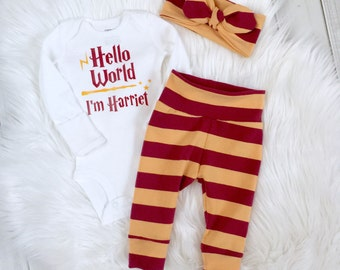 harry potter girl, Harry Potter baby set, Gryffindor baby, Harry Potter shower gift, HP baby, hello world