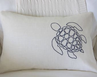 Hand-Embroidered Navy Blue Sea Turtle on Ivory Linen Lumbar Pillow Cover - Various Sizes