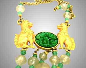 CADORO carved faux jade chinese fu dog Extra long Necklace