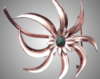 Nettie Rosenstein huge sunflower sterling pin brooch