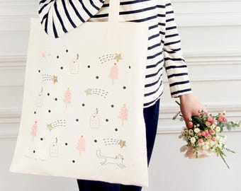 "Glittery & Eco-friendly cotton Tote bag ""Falling stars"" - 100% natural and fair trade / Organic / Illustration - Cat/mountain/ Gold/Glitters"