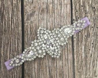 Rhinestone headband, lavender headband, flower girl headband, wedding headband, dressy headband, formal headband, halo, baby headband,