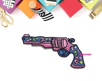 Sugar Gun - Sweet Gun - Short Gun - Fancy - New Sew / Iron on Patch Embroidered Applique Size 11.8cm.x6.5cm.