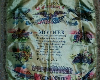 Beautiful, vintage 40's, military souvenir, sweetheart pillow sham with fringe for Army mother!