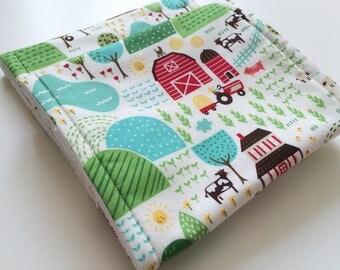 Farm burp cloths, Tractor burpies, Country scene cloths, Muslin alternative, Spit up rags, Absorbent baby cloths, New mum essentials,