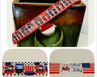 Patriotic Dog Collars or Leash in a Flip Flop Print