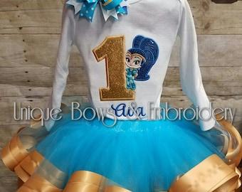 Shimmer and shine Inspired Birthday Tutu Set ~ shimmer and shine Inspired Birthday Outfit ~ Personalized Birthday Outfit- shimmer and shine
