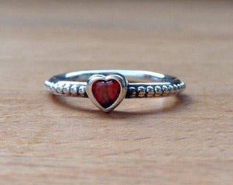 Garnet Heart Droplet Ring