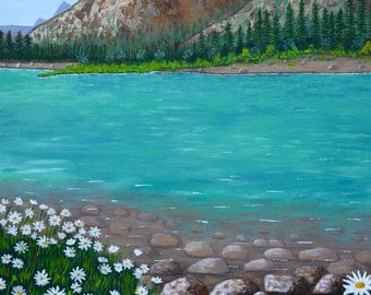 The Bow River Fine Print, Alberta Painting, River and Mountains, Canada Painting, Print of my Original, Gift Idea, Mother's Day Gift,  11x14