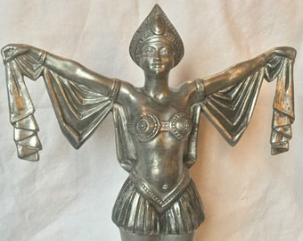 French Art Deco Oriental lady dancer spelter statue – circa 1930
