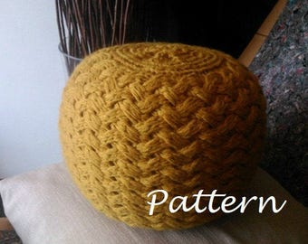 KNITTING PATTERN Knitted Pouf Pattern, Poof, Knitting, Ottoman, Footstool, Home Decor, Pillow, Bean Bag, Pouffe, Floor cushion