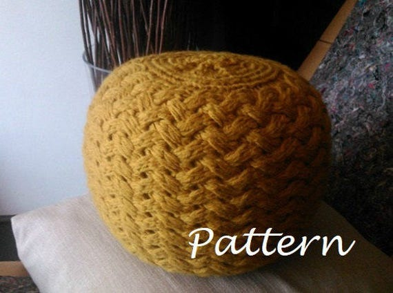 Knitting pattern knitted pouf pattern poof knitting ottoman footstool home decor pillow - Knitted pouf ottoman pattern ...