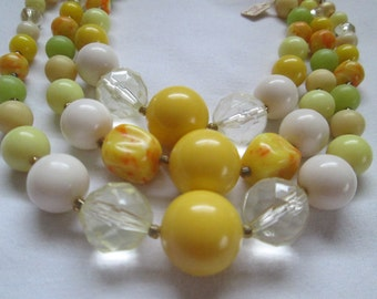 1950s Lucite tagged Japan Multi Strand Yellow Necklace