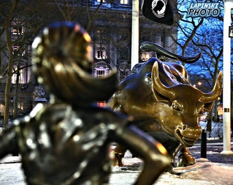 "Fearless Girl, Charging Bull, New York City Photograph, Color Photography, NYC Photo, Wall Art, Art Print, ""Have No Fear"""