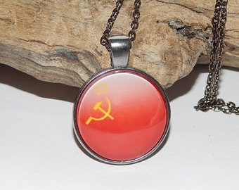 Hammer and Sickle Pendant nekclace jewelry keychain, Communist Symbol USSR, Soviet Union, Logo Communism Emblem, Marxism Logo, red flag
