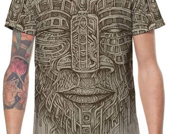 Cool MenT -Shirt,Psy Tance Goa,Burning Man,Gift For Men,Festival Clothing,Mens Tribal Shirt,Spiritual Top,Tribal T Shirt,Printed T Shirt.
