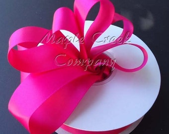 7/8 inch x 100 yards of Fuschia (dark pink) Double Face Satin Ribbon - shines on both sides
