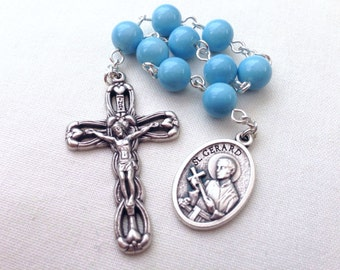 Blue St Gerard Majella chaplet, Expectant mother gift, Pregnancy gift, Patron Saint of pregnancy, childbirth, prolife, mothers