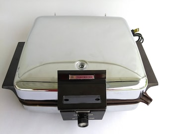 Vintage 1980s Toastmaster Waffle Iron  Combo Sandwich Grill Press,  Hotplate Griddle   Chrome Teflon Nice & Clean Model 269