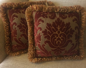 Red velvet damask pillows