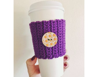 Knitted Button Coffee Cozy // Purple Coffee Cozy // Wooden Button