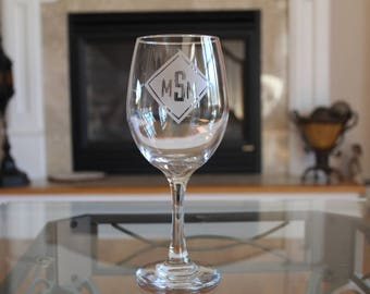 Monogrammed Etched Wine Glass