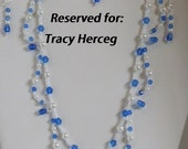 RESERVED Simple Elegance Necklace set Blue Czech Crystal Bicones, Drops, glass white pearls and tr. ab  white pearl seed beads