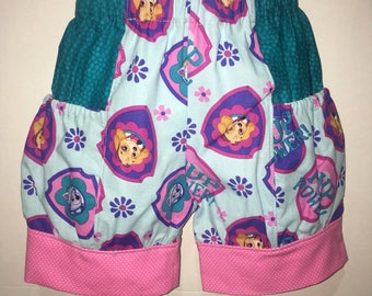 Girls Paw Patrol Shorts Skye Everest Sky Baby Toddler Boutique Bubble Shorts with Side Pocket Birthday Party Outfit Every Day Park Girl