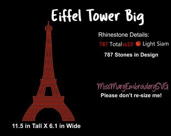 Eiffel Tower Rhinestone Template Design SVG PNG DXF