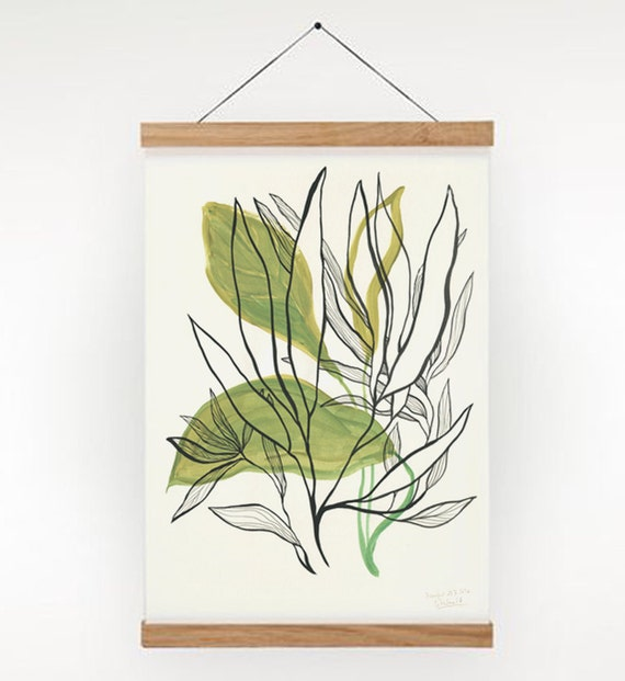 Foliage 3- Leaves Poster Plants PRINT - green tempera goauche painting of green leaves - Modern Botanical Print by Catalina.