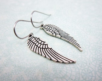 Angel Wing Earrings, silver wing earrings, friendship jewelry, meaningful earrings, gifts for her, jewelry for women, feather, personal