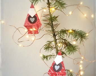Paper Santa Decorations Red Origami Christmas Gift Tags Wrapping Present Toppers
