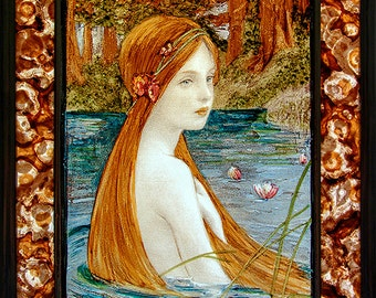 Victorian stained glass, kilnfired glass painting, water nymph suncatcher, waterbaby stained glass, victorian beauty, waterbaby, nymph, gift