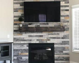 "Fireplace Mantel .Wooden Mantel.48"" Long x 5.5"" Tall x 7.5"" Deep.TV Shelf.Fireplace Decor.Rugged Wood Mantel.Floating shelf."