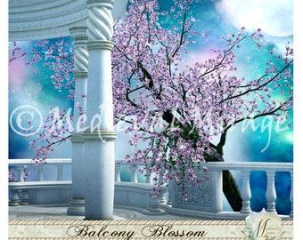 Balcony Blossom. Spring. Moonlight, starry sky. Dreamy romantic, fairy-tale digital background, backdrop. Bridal, Wedding, Commercial use.