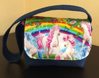Kids messenger bag,unicorn messenger bag,denim bag
